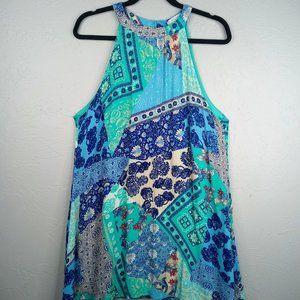 Entro Halter Mixed Media Print Dress